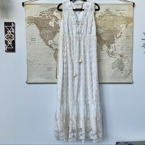 LaBellum by Hillary Scott beaded white lace maxi
